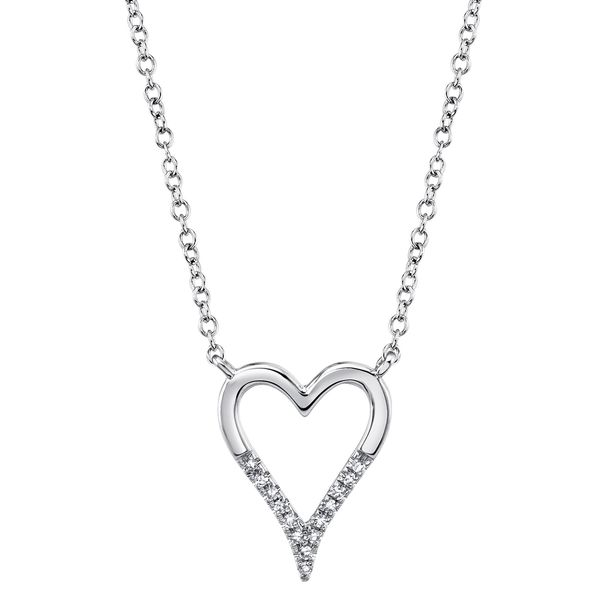 Shy Creation 14K White Gold Diamond Heart Necklace SVS Fine Jewelry Oceanside, NY