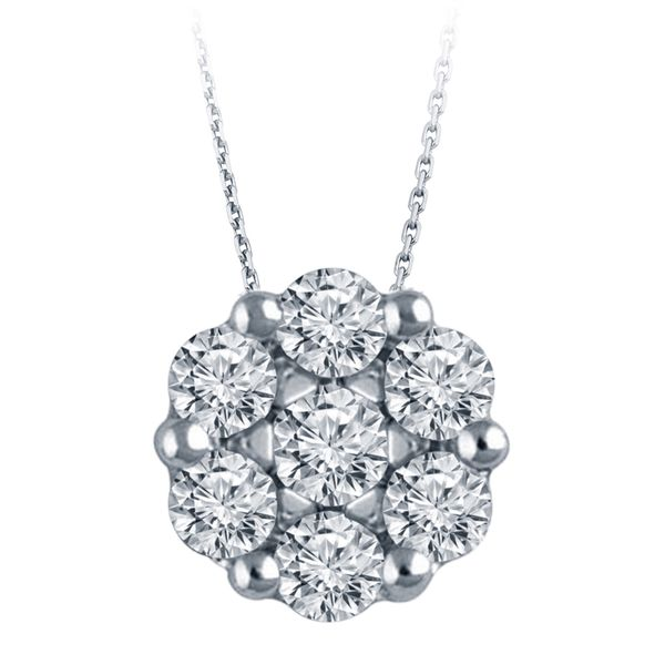 14K White Gold Flower Cluster Necklace, .50cttw, 18