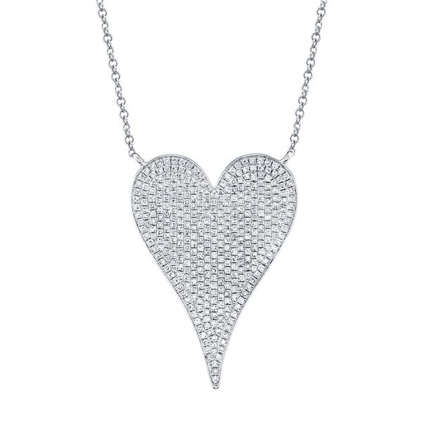 Shy Creation 14K White Gold Diamond Heart Necklace, .83ctw SVS Fine Jewelry Oceanside, NY
