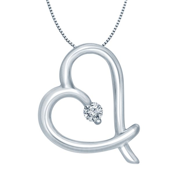 SVS Signature 101© Sterling Silver & Diamond Heart Pendant SVS Fine Jewelry Oceanside, NY
