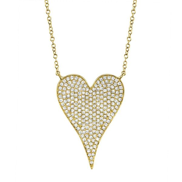Shy Creation 14K Yellow Gold Diamond Heart Necklace SVS Fine Jewelry Oceanside, NY