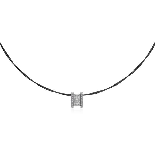 ALOR Black Cable Diva Necklace, 0.18Cttw, 16.5+2
