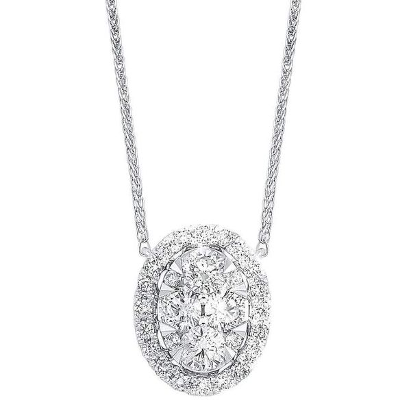 Diamond Starburst Eternity Oval Cluster Pendant Necklace SVS Fine Jewelry Oceanside, NY