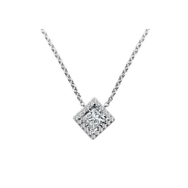 SVS Signature Halo Collection Princess Halo Diamond Necklace SVS Fine Jewelry Oceanside, NY