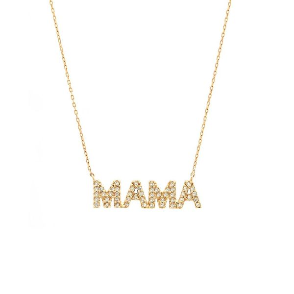 Yellow Gold Diamond MAMA Necklace, 0.15Cttw SVS Fine Jewelry Oceanside, NY