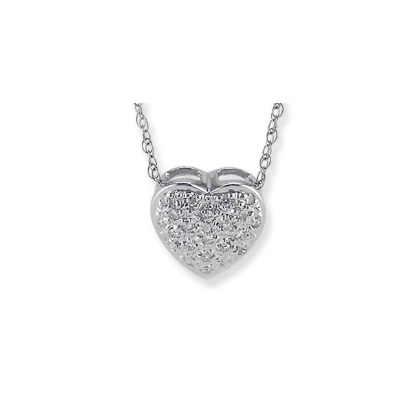 14K White Gold Diamond Heart Pendant, 0.10cttw, 16