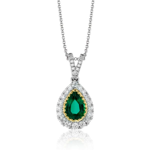 Simon G. 18K White & Yellow Gold And Emerald Necklace SVS Fine Jewelry Oceanside, NY