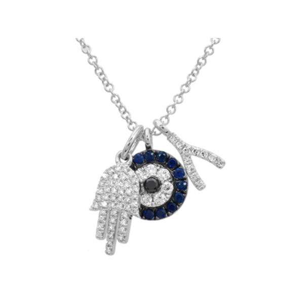 14K White Gold, Diamond, & Sapphire Necklace SVS Fine Jewelry Oceanside, NY