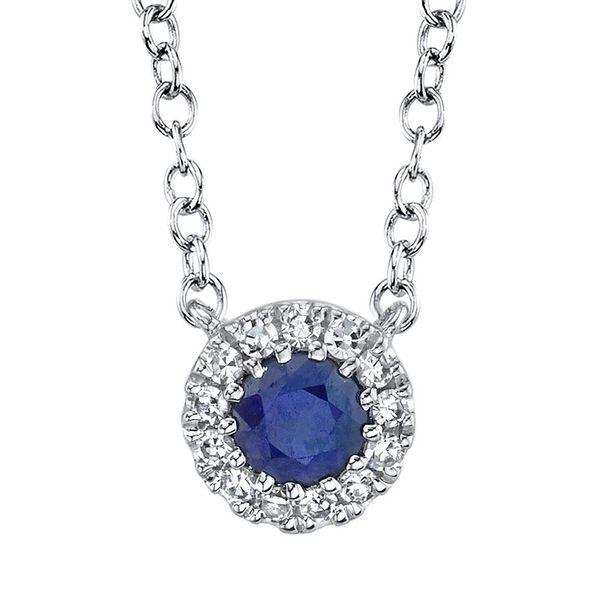 Shy Creation White Gold, Sapphire, And Diamond Necklace SVS Fine Jewelry Oceanside, NY