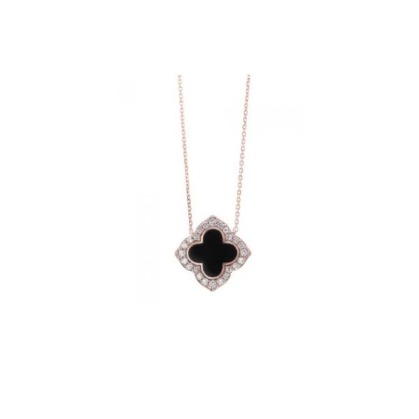 Diamond Clover Onyx & Diamond Pendant Necklace SVS Fine Jewelry Oceanside, NY