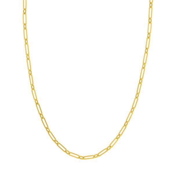 Yellow Gold 3.80 mm Hollow Paper Clip Chain SVS Fine Jewelry Oceanside, NY