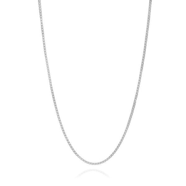 14K White Gold Box Chain With Spring Ring, 18