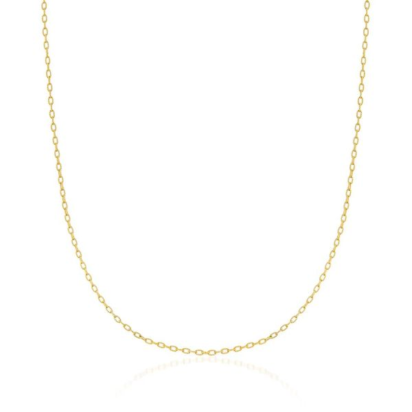14K Yellow Gold Cable Chain With Lobster Lock, 19
