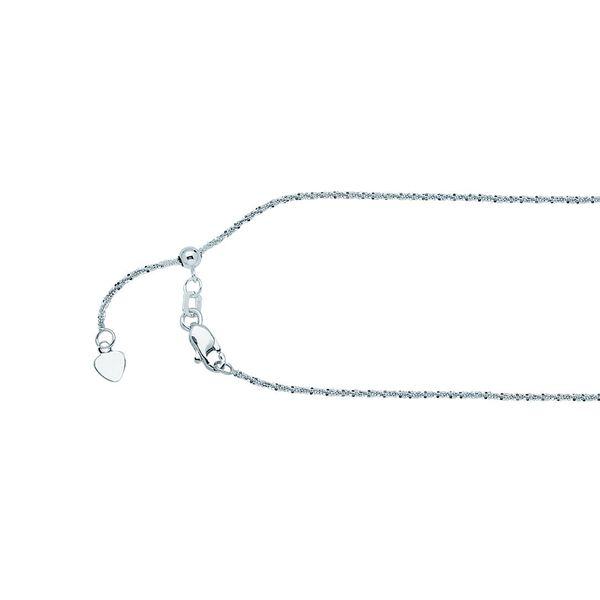 14K White Gold 1.15 mm Adjustable Sparkle Chain SVS Fine Jewelry Oceanside, NY