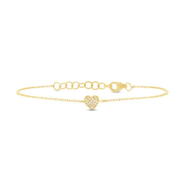 Shy Creation 14K Yellow Gold And Diamond Heart Bracelet SVS Fine Jewelry Oceanside, NY