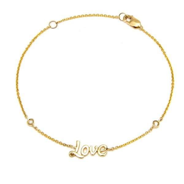 14K Yellow Gold & Bezel Diamond Love Bracelet SVS Fine Jewelry Oceanside, NY
