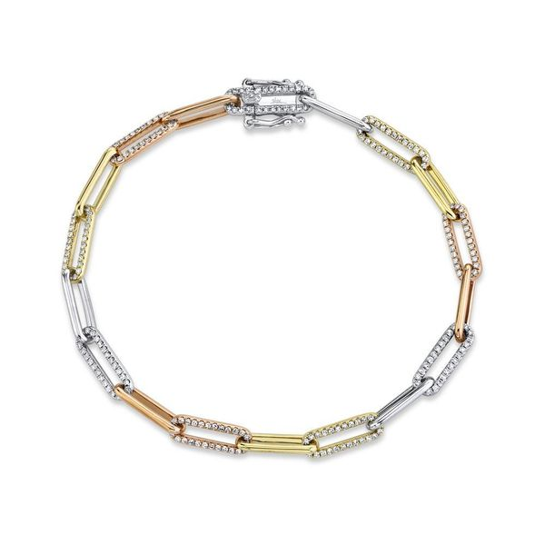 Shy Creation Yellow, White, Rose Gold, & Diamond Paperclip Link Bracelet SVS Fine Jewelry Oceanside, NY