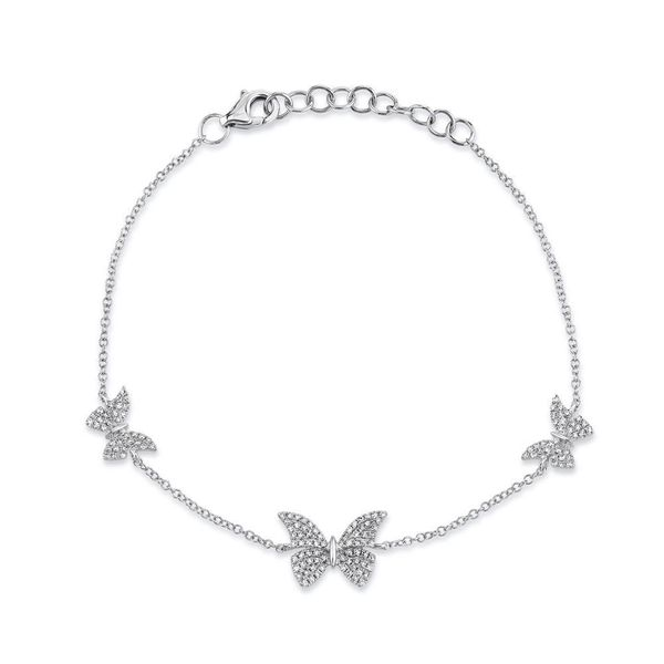Shy Creation White Gold Diamond Butterfly Bracelet SVS Fine Jewelry Oceanside, NY