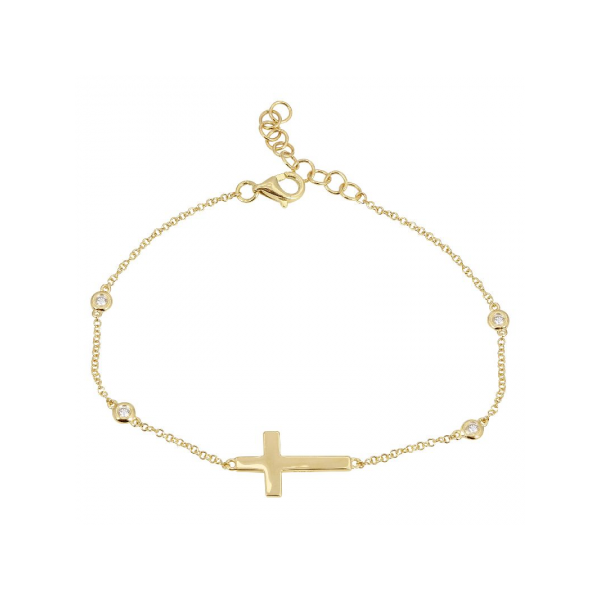14K Yellow Gold & Diamond Cross Bracelet SVS Fine Jewelry Oceanside, NY