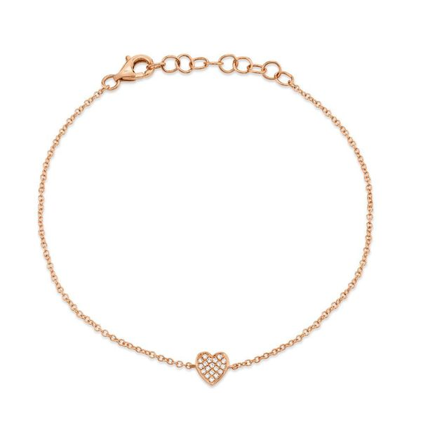 Shy Creation 14K Rose Gold And Diamond Heart Bracelet SVS Fine Jewelry Oceanside, NY