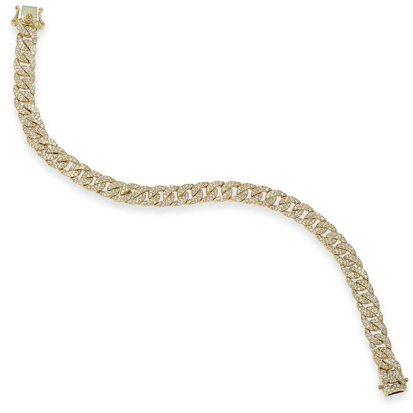 Shy Creation Yellow Gold & Diamond Pave Chain Bracelet Image 2 SVS Fine Jewelry Oceanside, NY