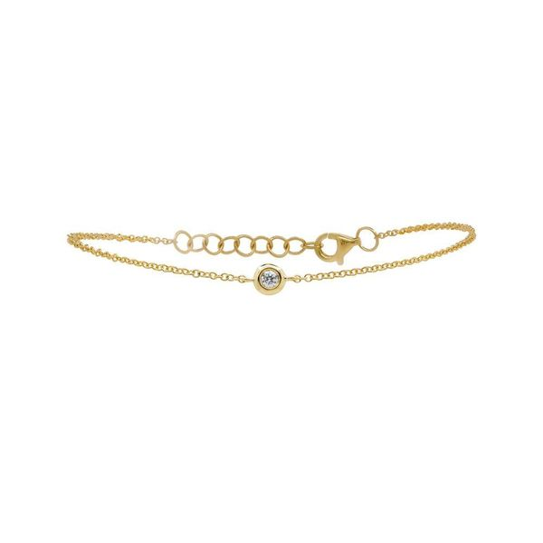 Shy Creation 14K Yellow Gold And Diamond Bezel Bracelet SVS Fine Jewelry Oceanside, NY