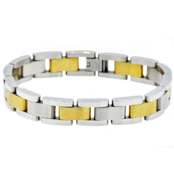 Men's Gold Plated Stainless Steel Bracelet SVS Fine Jewelry Oceanside, NY