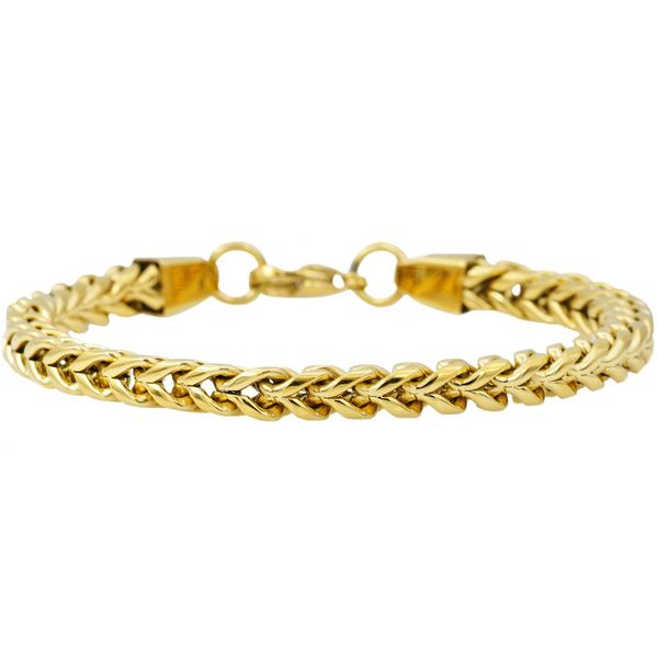 Men's Gold Plated Franco Link Chain Bracelet SVS Fine Jewelry Oceanside, NY