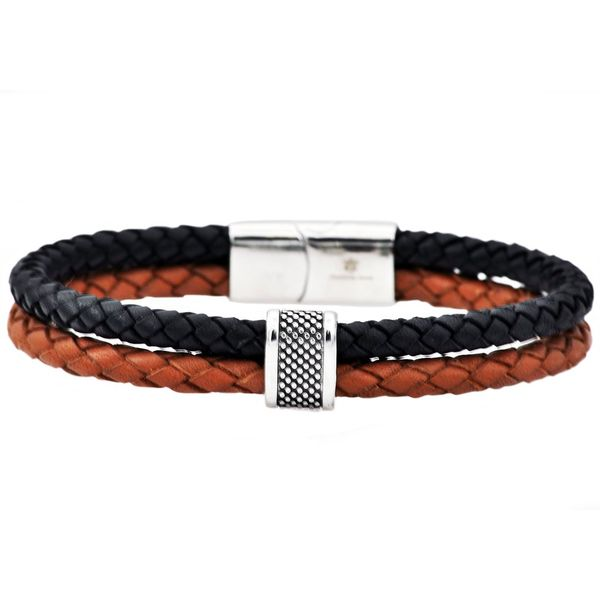 Men's Black And Brown Leather Stainless Steel Bracelet SVS Fine Jewelry Oceanside, NY
