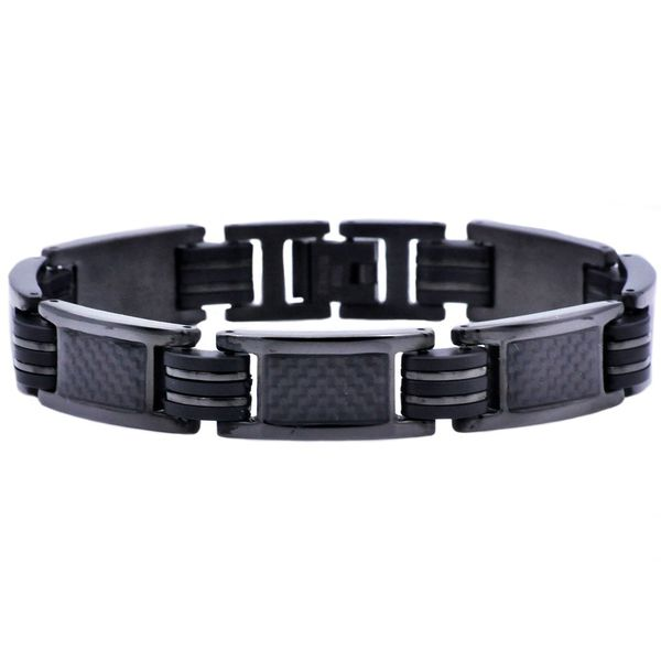 Men's Black Rubber And Stainless Steel Bracelet SVS Fine Jewelry Oceanside, NY