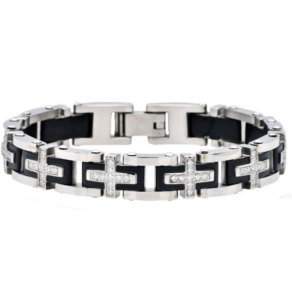 Men's Black Plated Stainless Steel Bracelet SVS Fine Jewelry Oceanside, NY