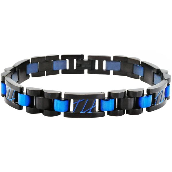 Men's Blue And Black Plated Stainless Steel Link Bracelet SVS Fine Jewelry Oceanside, NY