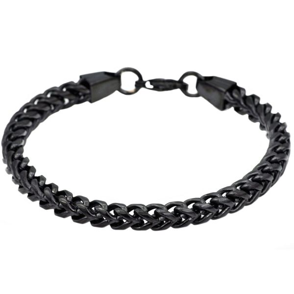 Men's Black Plated Franco Link Chain Bracelet SVS Fine Jewelry Oceanside, NY