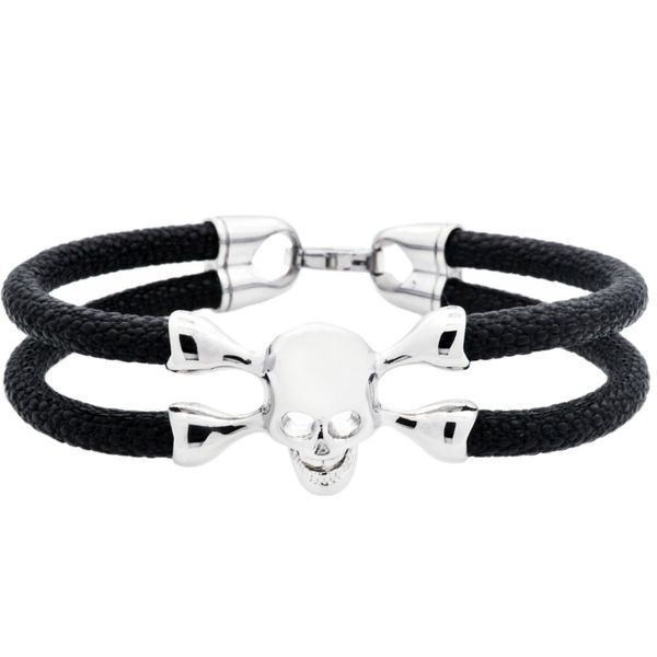 Men's Stainless Steel And Black Leather Skull Bracelet SVS Fine Jewelry Oceanside, NY