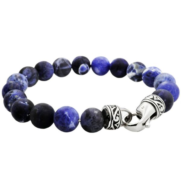 Men's Genuine Sodalite Stainless Steel Beaded Bracelet SVS Fine Jewelry Oceanside, NY