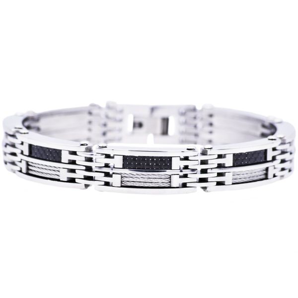 Men's Carbon Fiber And Stainless Steel Wire Bracelet SVS Fine Jewelry Oceanside, NY