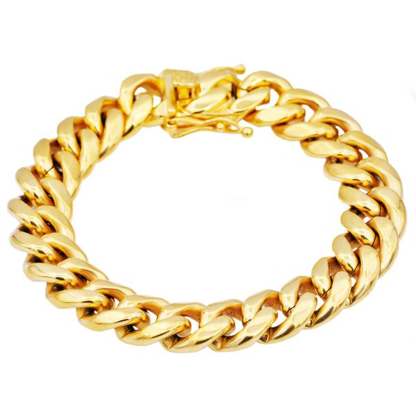 Men's Gold Stainless Steel Miami Cuban Link Chain Bracelet SVS Fine Jewelry Oceanside, NY