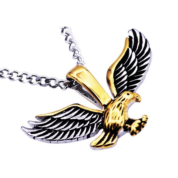Men's Gold Plated Stainless Steel Eagle Pendant SVS Fine Jewelry Oceanside, NY