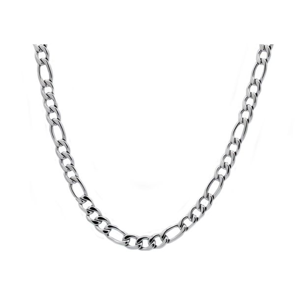Men's Stainless Steel Figaro Link Chain Necklace SVS Fine Jewelry Oceanside, NY