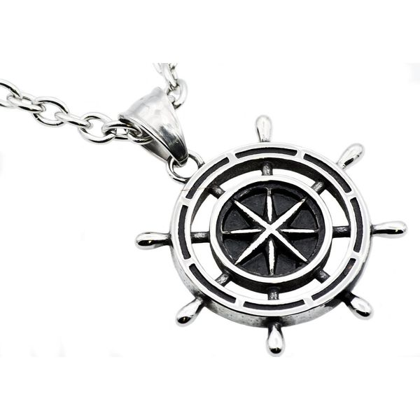Men's Stainless Steel Ship Helm Pendant SVS Fine Jewelry Oceanside, NY
