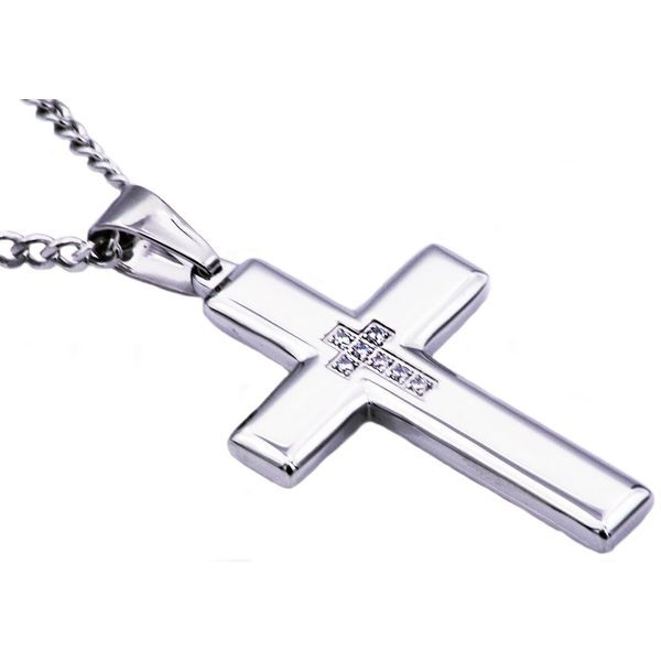 Men's Stainless Steel Cross Pendant With Cubic Zirconia SVS Fine Jewelry Oceanside, NY