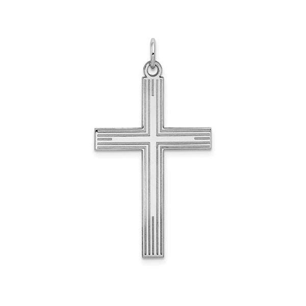 14K White Gold Laser Designed Cross (Chain Not Included) SVS Fine Jewelry Oceanside, NY