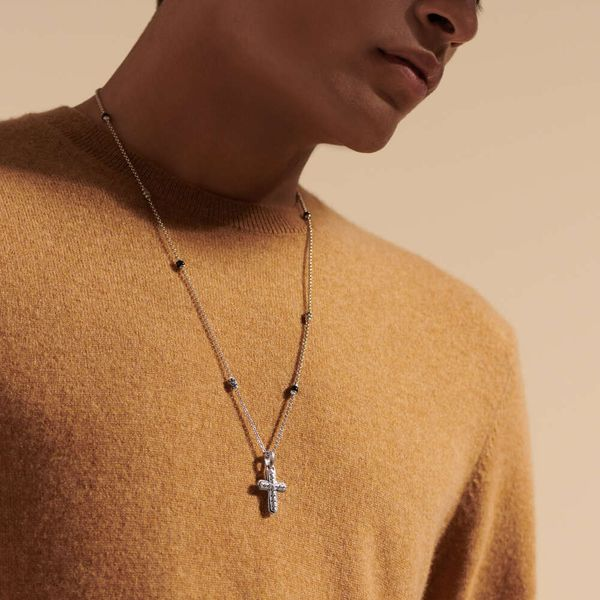 John Hardy Men's Chain Collection Silver Cross Necklace Image 3 SVS Fine Jewelry Oceanside, NY
