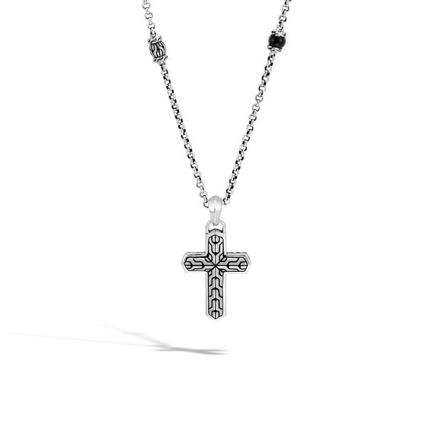 John Hardy Men's Chain Collection Silver Cross Necklace SVS Fine Jewelry Oceanside, NY
