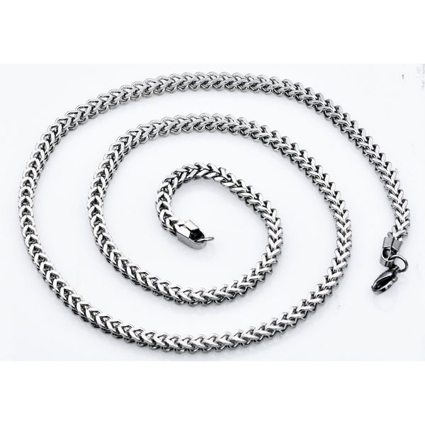 Men's 4 mm Stainless Steel Franco Link Chain Necklace Image 2 SVS Fine Jewelry Oceanside, NY