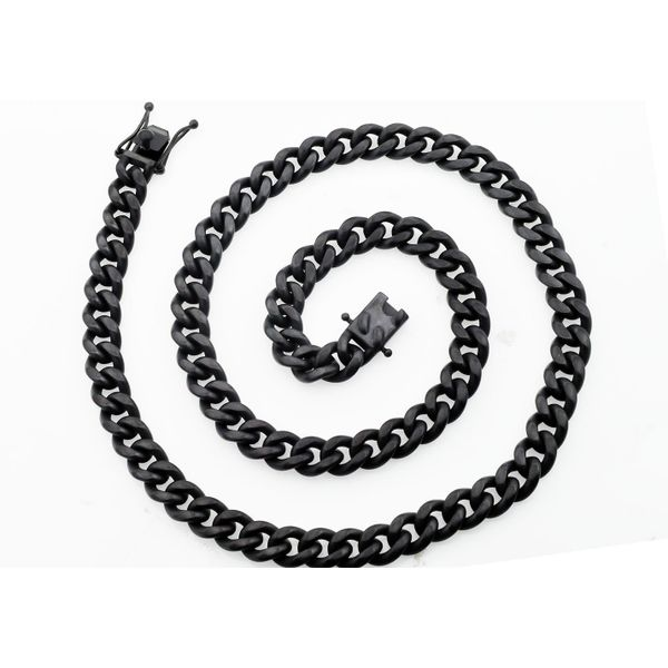 Men's 10 mm Black Stainless Steel Miami Cuban Necklace Image 2 SVS Fine Jewelry Oceanside, NY