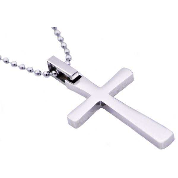 Men's Polished Stainless Steel Small Cross Necklace SVS Fine Jewelry Oceanside, NY