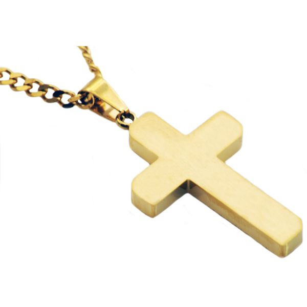 Men's Gold Stainless Steel Cross Pendant SVS Fine Jewelry Oceanside, NY