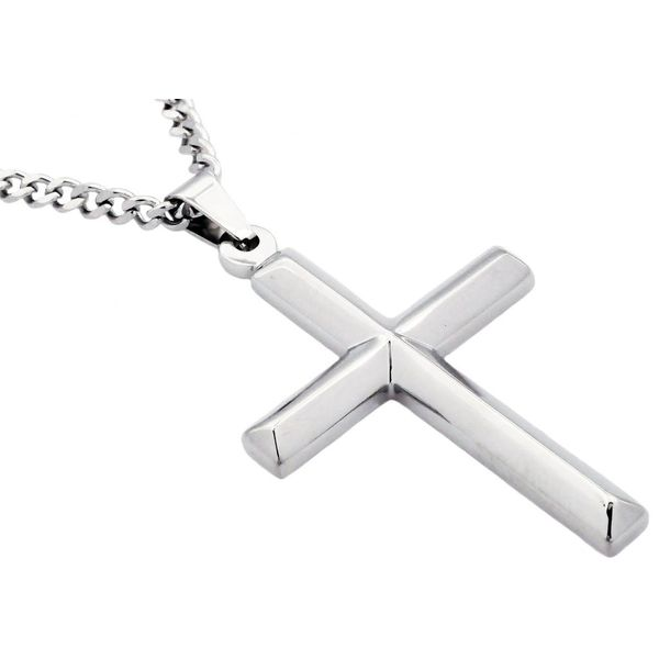 Men's Stainless Steel Cross Pendant With 24