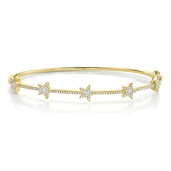 Shy Creation 14K Yellow Gold And Diamond Star Bangle SVS Fine Jewelry Oceanside, NY